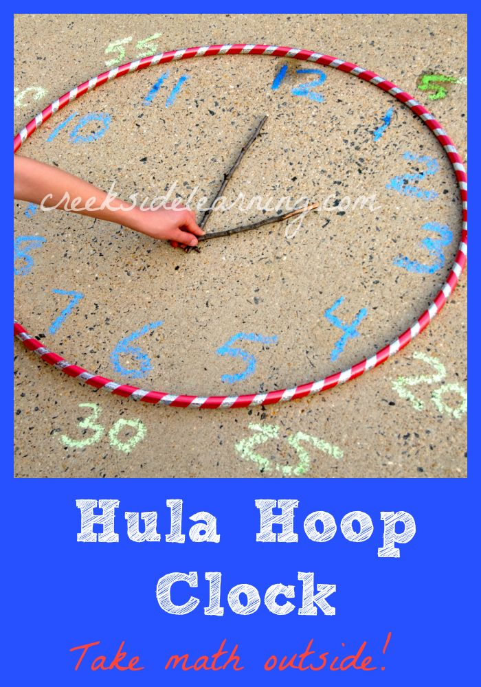 Take math outside! Make a Hula Hoop Clock. #math #summerlearning #ece
