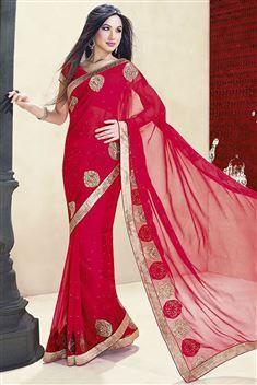 Printed Jai Ho Red Saree