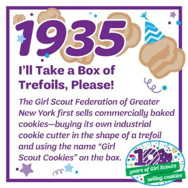 "1935: I'll Take a Box of Trefoils, Please!—The Girl Scout Federation of Greater New York first sells commercially baked cookies—buying its own industrial cookie cutter in the shape of a trefoil and using the name ""Girl Scout Cookies"" on the box."