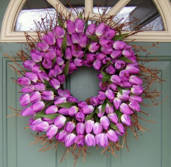 spring wreath on EtsyCrafts Ideas, Wreathsflow Arragements, Front Doors Colors, Tulip Wreaths, Purple Tulip, Diy Wreaths, Summer Wreaths, Easter Wreaths, Spring Wreaths