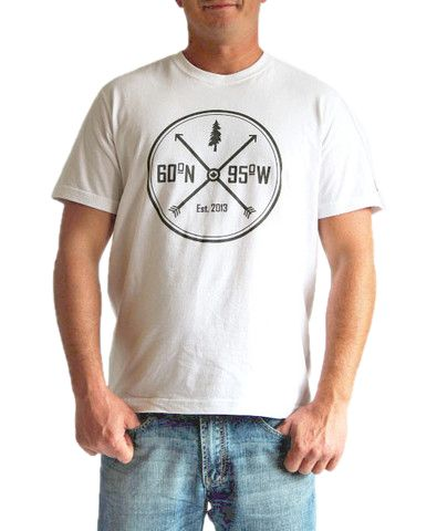 White t-shirt with crossed arrows graphic | 60°N 95°W | 60N95W.com