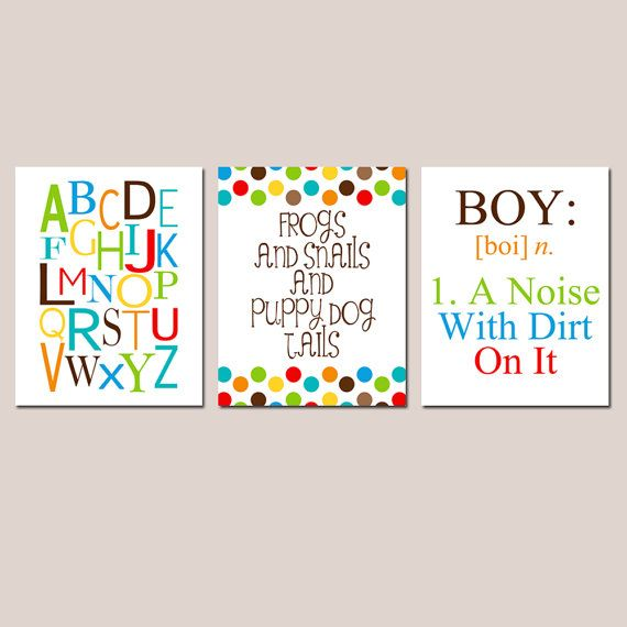 Boy Nursery Trio - Set of Three 11x14 Prints - Boy Definition, Frogs Snails Puppy Dog Tails, Alphabet - Kids Wall Art - Choose Your Colors on Etsy, $59.50