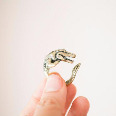 Crocodile Ring, Alligator Ring, antique finish crocodile ring, burnish Animal ring, Animal Jewelry