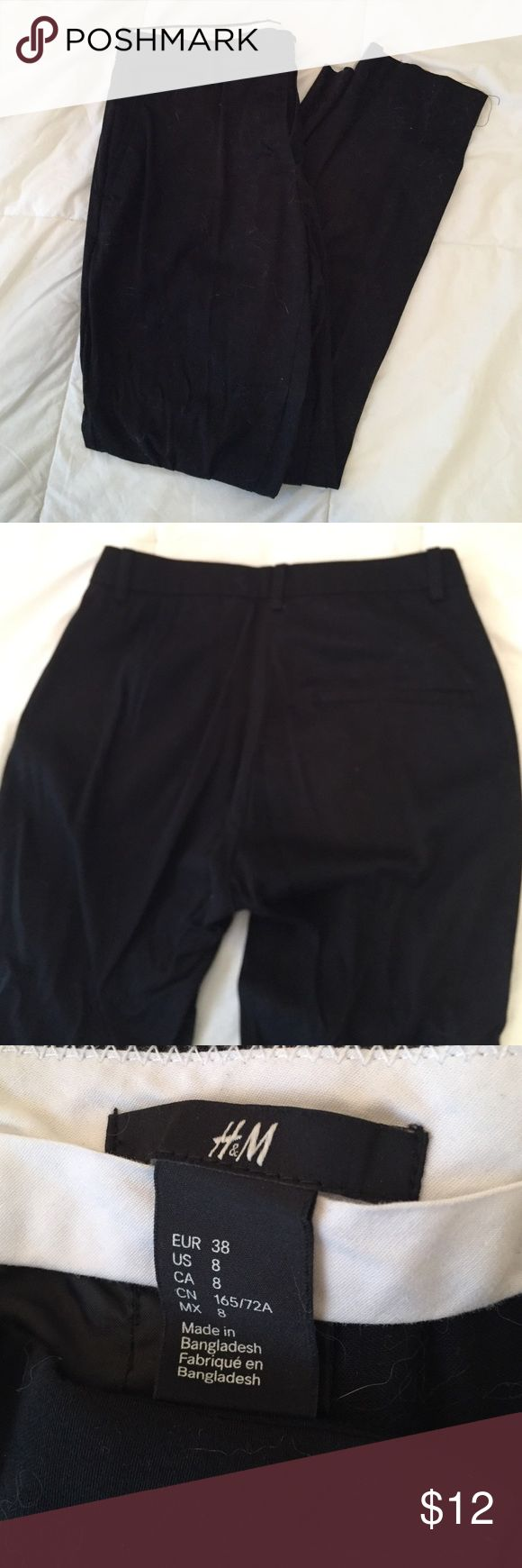 H&M Black Cropped Trousers Size8 Nice and soft dress pants, straight leg cropped. Rarely worn. Size 8 H&M Pants Trousers