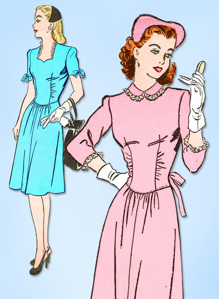 1940s Vintage Advance Sewing Pattern 3735 WWII Misses Afternoon Dress Size 32 B