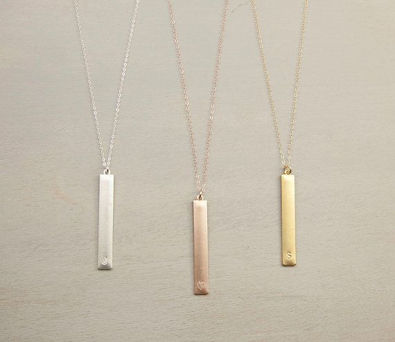 Rose Gold Initial Pendant Bar Necklace // Long by LayeredAndLong