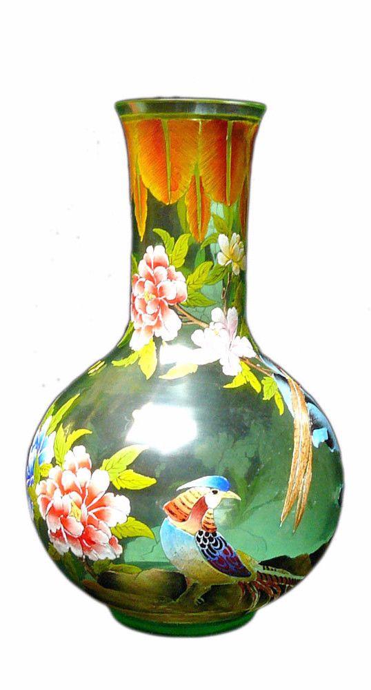 Chinese Light Green Color Graphic Peking Glass Vase vs713S