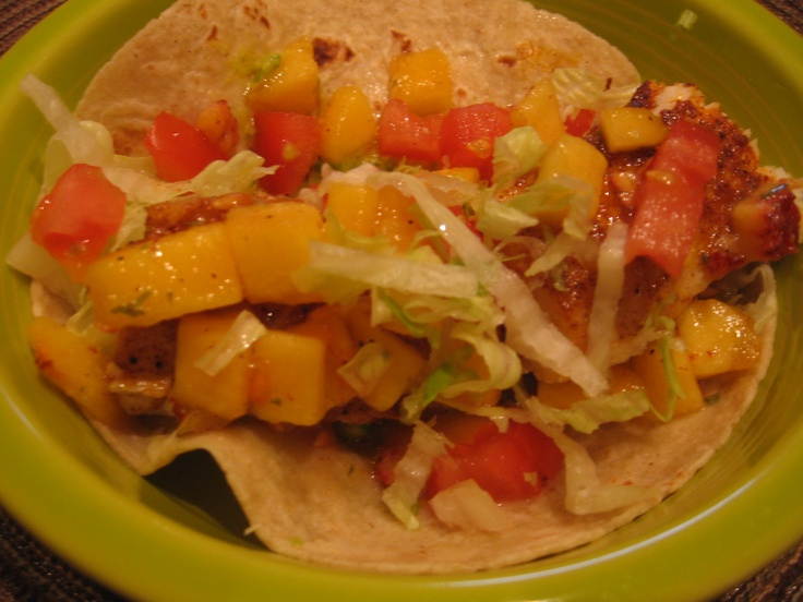 mahi fish tacos with a peach salsa. Mahi was seasoned with salt ...