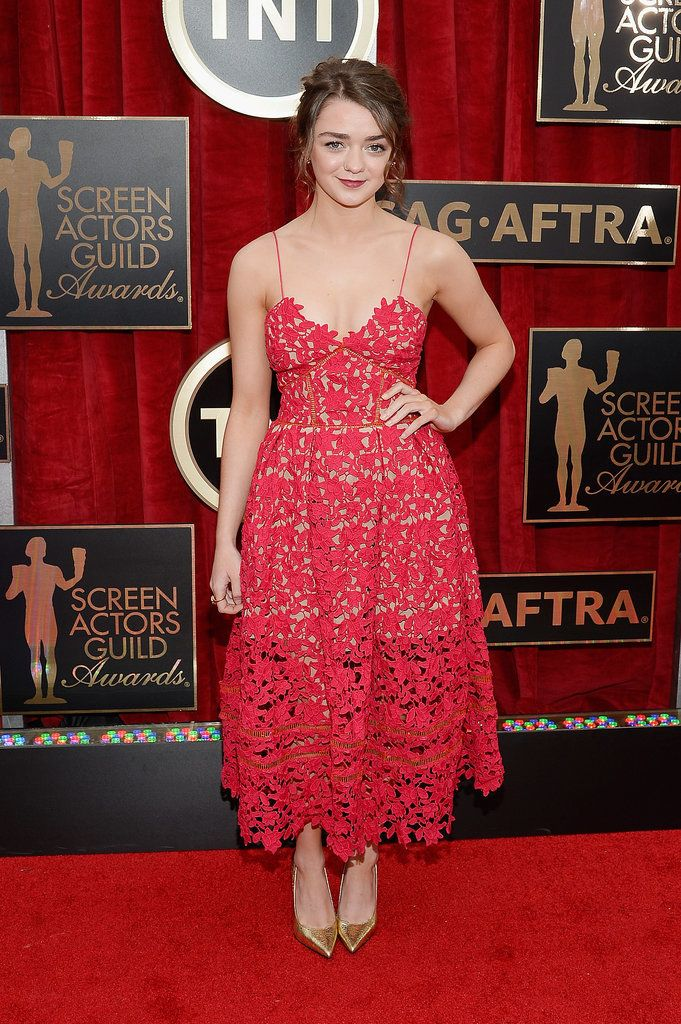 Game of Thrones Maisie Williams walks the red carpet at the SAG Awards.