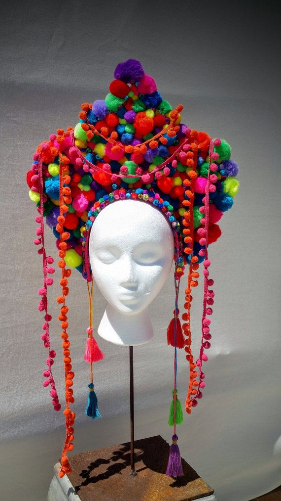 Burning man/Festival pom pom headdress by Strawberyfreckles