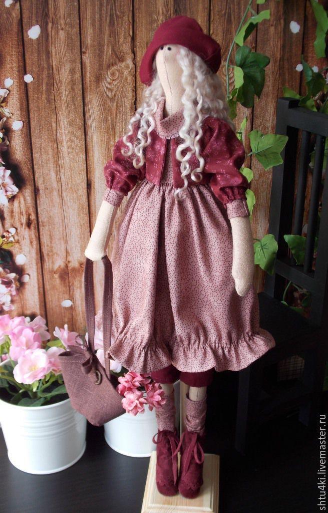 Купить Мишель - бордовый, тильда, тильда кукла, текстильная кукла, интерьерная кукла, подарок девушке