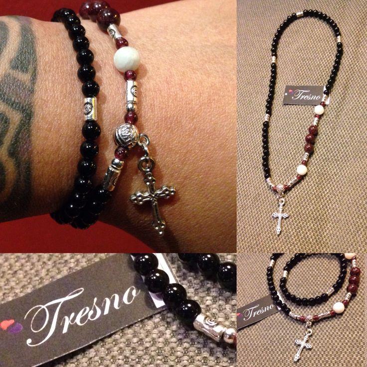 Black Onyx, Garnet & Moonstone, Rosary bracelet
