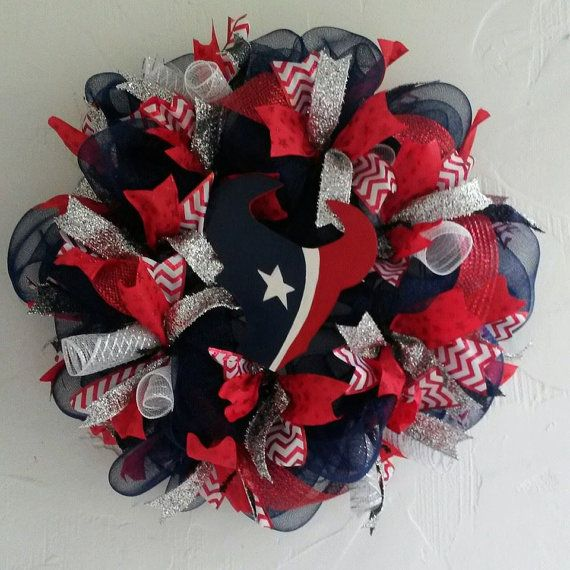 Houston Texans NFL Front Door Wreath by DivineDesigns2014 on Etsy, $75.00