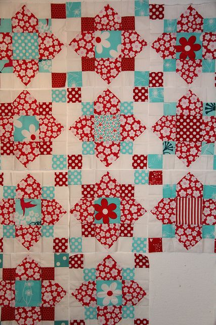 Red and Aqua My husband's step grandmother made us a red and aqua quilt top for a wedding present.  Back then I didn't think too much of the combo but now it's chic! :)
