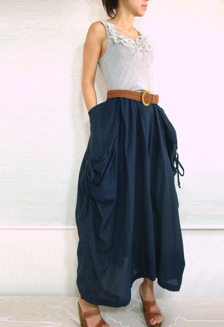 Lagenlook Maxi Skirt Big Pockets Long Skirt - in Deep Dark Navy Blue Cotton Maxi Skirt - SK001