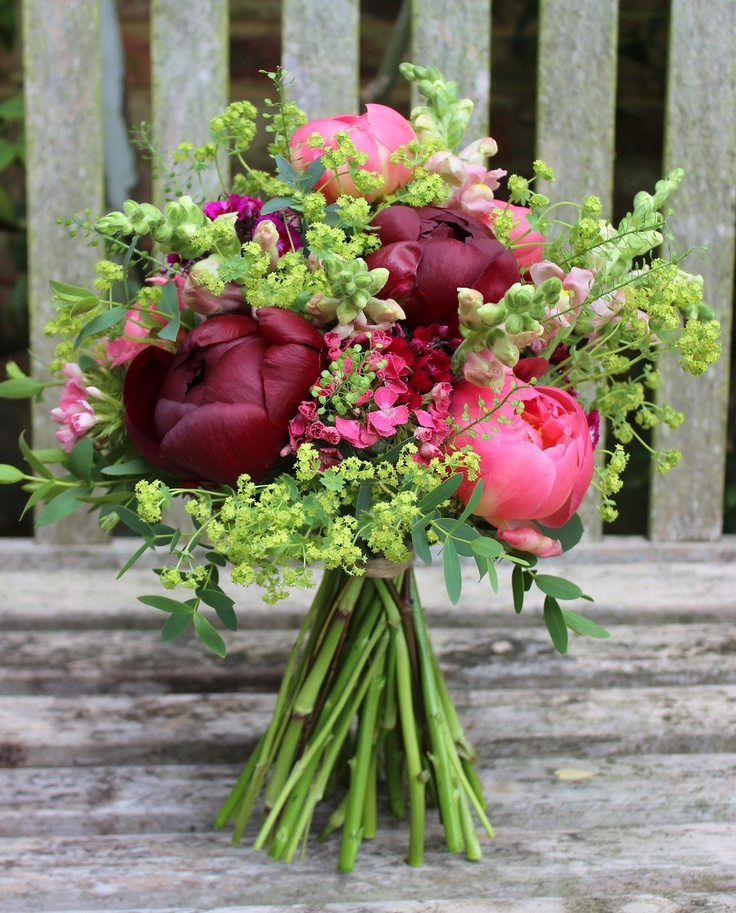 Lock Cottage Flowers Peony, snapdragon, alchemilla bouquet for early summer