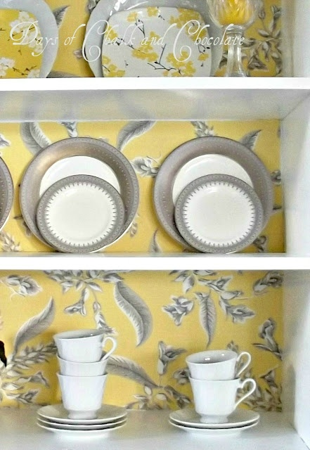 How to use spray starch to attach fabric to a hutch/bookcase.