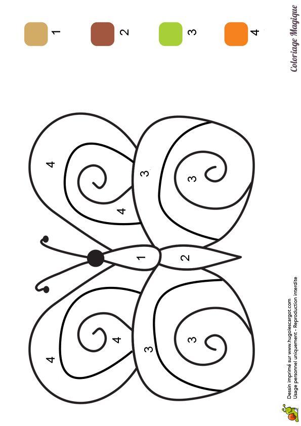 coloriage magique cp papillon à imprimer sur hugolescargot.com