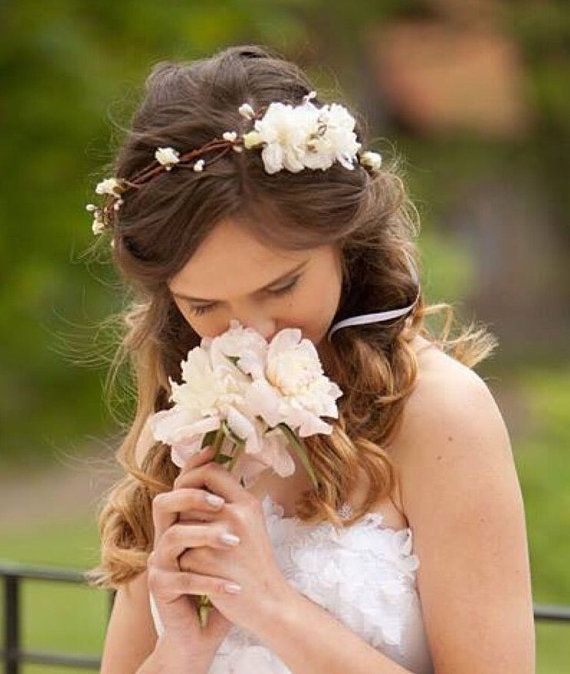 Flower crown rustic head wreath wedding by MaijasWeddingBliss