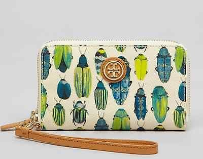 NWT Tory Burch Beetle Canvas Leather iPhone Case Wallet Clutch Phone Wristlet