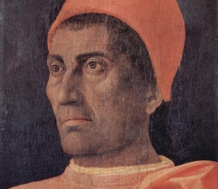 Andrea Mantegna, 1431-1506, Cardinal Carlo de'Medici, Temper on wood, Firenze, Galleria degli Uffizi