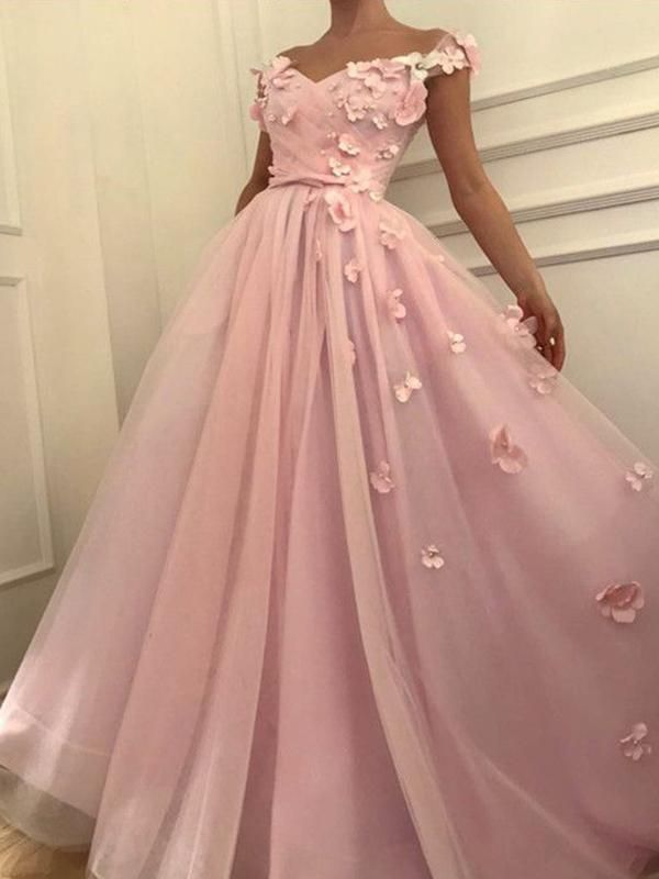 77047fe5d55 Chic A-line Off-the-shoulder Pink Prom Dress Floral Prom Dresses Long  Evening Dress AMY1882