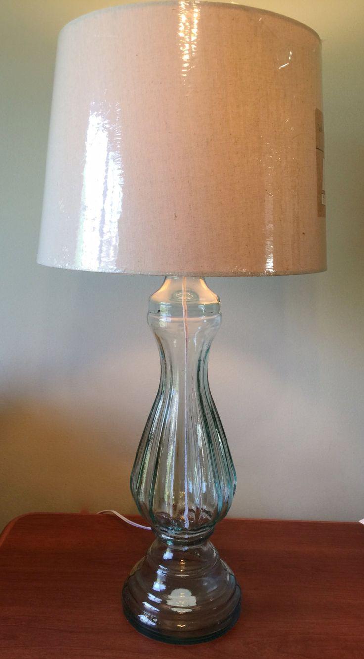 Blue Green Glass Table Lamp Pillar Table Lamp Large Table Light Lamp Desk