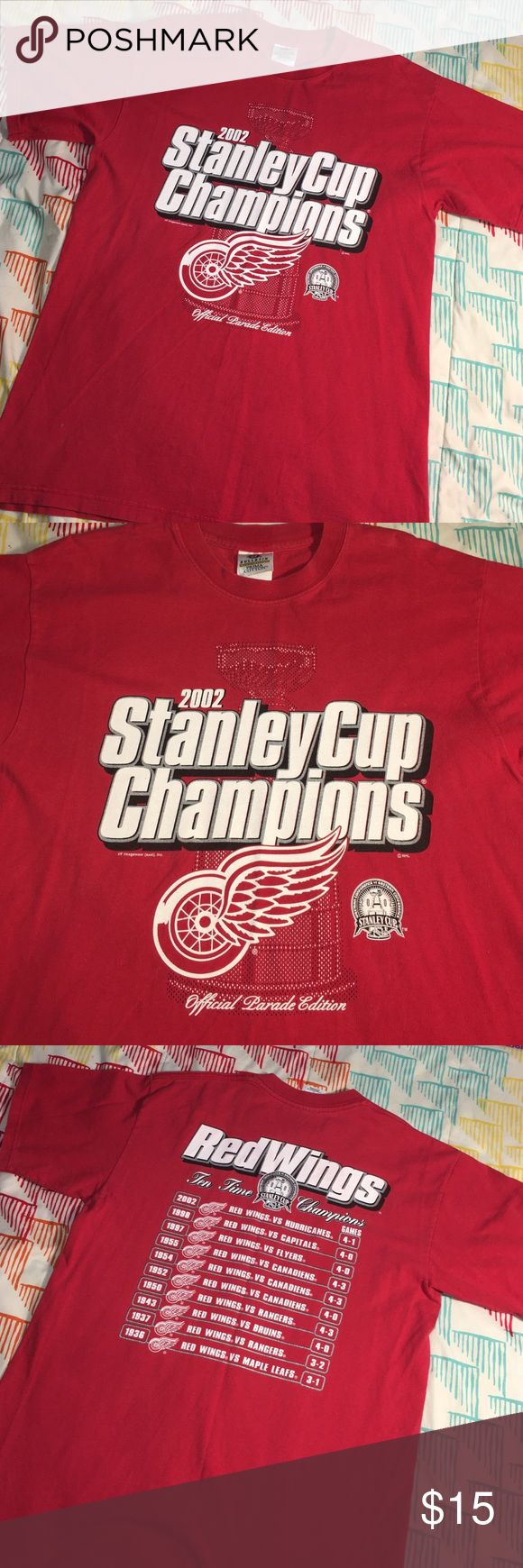Vintage Detroit RedWings Stanley Cup Parade Shirt Size Large- excellent condition bulletin Shirts Tees - Short Sleeve