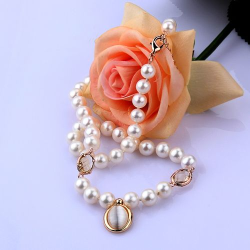 7.5-9.5 mm White Pearl Necklace Golden Shell Ring