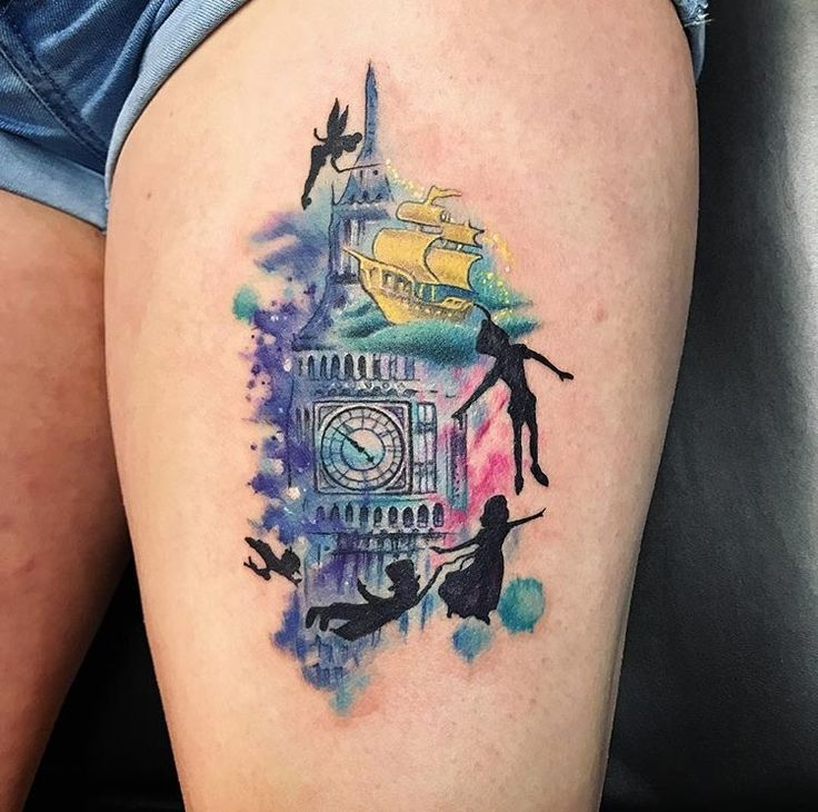 Peter Pan tattoo. #charlottetattoos #tattoomeclt #watercolor