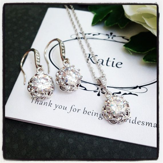 Bridal Jewelry Set Wedding Jewelry Set Bridesmaid by Glitzette