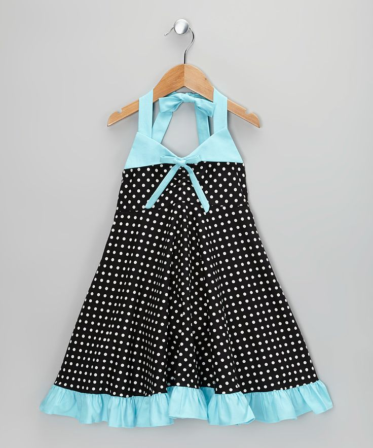 Look at this Muddy Feet Boutique Aquamarine Polka Dot Halter Dress - Infant, Toddler & Girls on #zulily today!