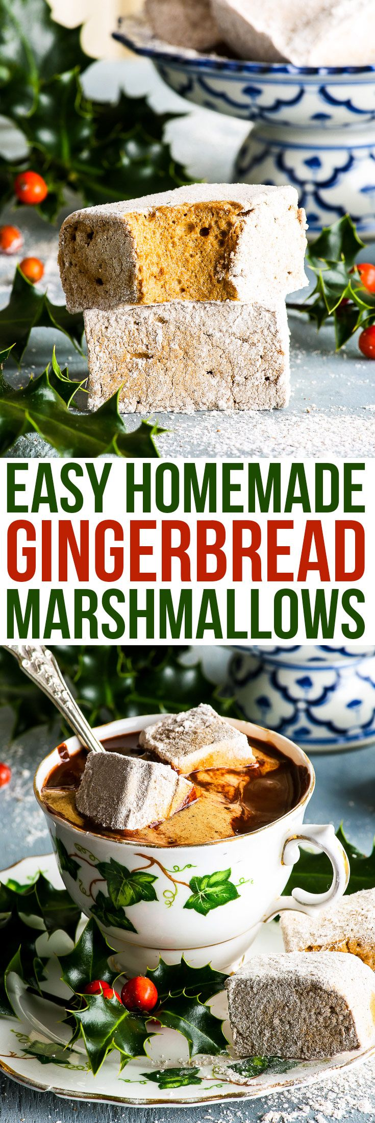 Easy Homemade Gingerbread Marshmallows {gluten, dairy, egg, nut & soy free} - These homemade gingerbread marshmallows are a revelation. Easy to make, they truly (truly) taste just like gingerbread – there's the molasses, the cinnamon, ginger, nutmeg and cloves. So… the taste is there, and the texture – pure marshmallowy goodness! Perfect with some hot chocolate, they also make a tasty DIY Christmas gift. #diygift #diychristmasgift #christmas #marshmallow #sweet