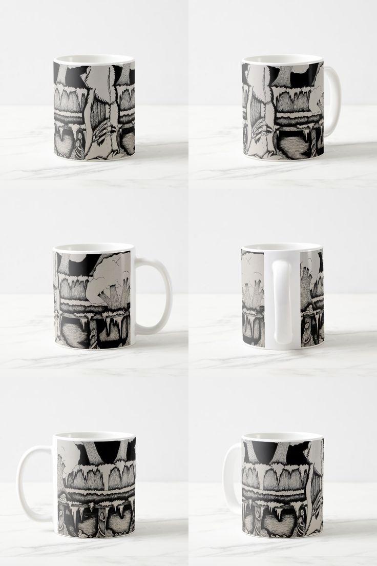 """Grass Bay"" Black and White Wolf Illustration Coffee Mug"