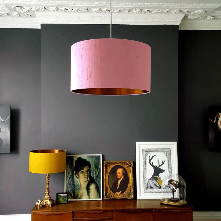 Brushed Copper Lampshade In Blush Pink Indian Silk