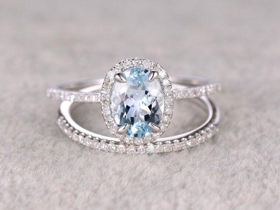 2pcs Oval Blue Aquamarine Wedding ring set.Engagement