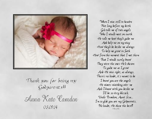 Godmother Godfather Godparents Poem Thank You Gift