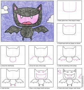 You can draw a Vampire bat without it being scary. In fact, they can be downright funny like this guy. Here's a tutorial on how to draw this very friendly looking bat. Oversized heads and symmetrical