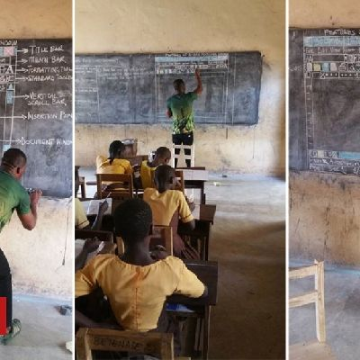 Ghana #man #teaching #computing #without #computers #becomes #viral #hit A teacher in Ghana who educates his students on computer technology - without any computers - has become a hit online. The man from Kumasi used his blackboard to meticulously draw a diagram of the popular Microsoft Word program. `Teaching of ICT in Ghana's school is very funny,` he said in a ...... http://www.bbc.co.uk/news/world-africa-43234836