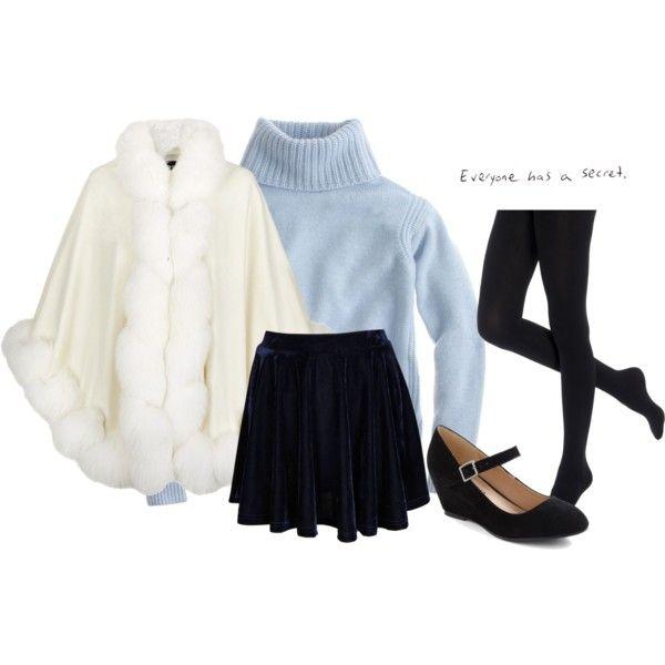 голубой свитер, можно с бельім+плотньіе черньіе колготки