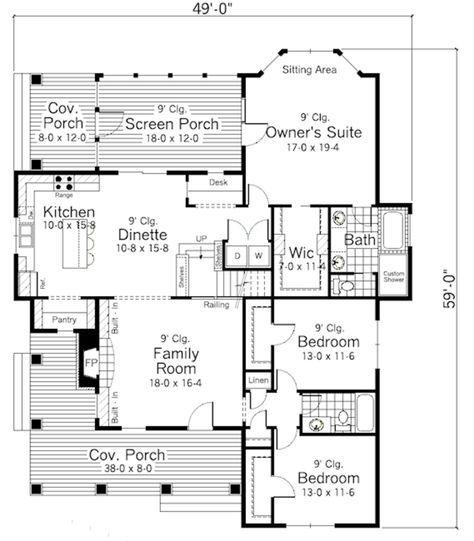 Main Floor - Plan 51-349 1811 sq ft 3 beds 2.00 baths 49' wide 59' deep