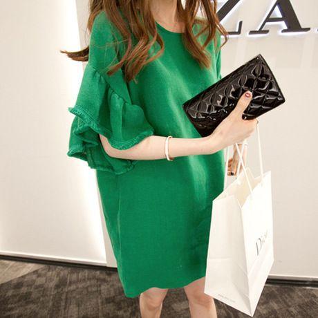 Pregnant women summer super cute horn sleeve dress cool when flash Linen Dress pregnancy clothes dresses for women