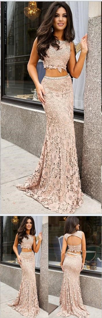 BLUSH PINK LACE 2 PIECE MERMAID LONG BACKLESS PROM DRESS EVENING #twopiecespromdresses #twopiecespromdresses #prom #dresses #longpromdress #promdress #eveningdress #promdresses #partydresses