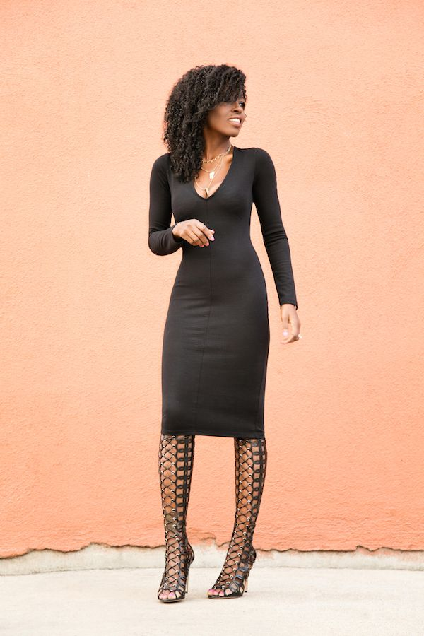 Black Midi Dress + Knee High Boots -  Women's Fashion and Style, Women's Clothing, Women's Apparel, Women's Accessories, Women's Shoes, Women's Handbags, JK Commerce