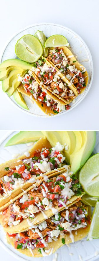 Easy Weeknight Chicken Tacos! (that don't use a crockpot...) - I've made these the last 15 weeks after having a baby - super delicious! I howsweeteats.com
