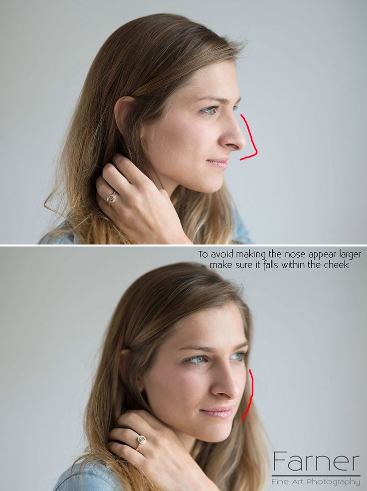 Bring ears forward to remove double chin. Minimize the nose by keeping it within the cheek. Create a thinner waist by putting your hand where you wish your waist line was instead of your actual hips.