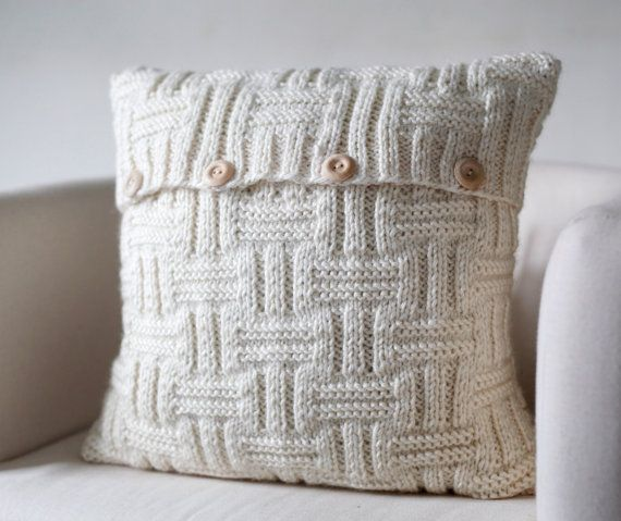 Knit cushion cover off white color with alpaca wool by pillowlink