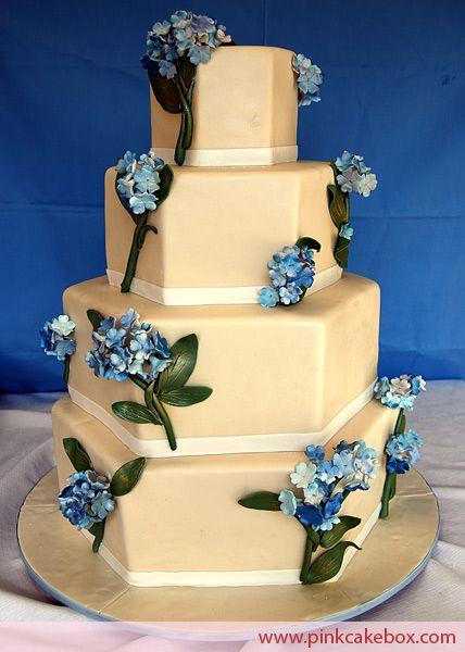 royal blue hydrangea wedding cakes - Google Search