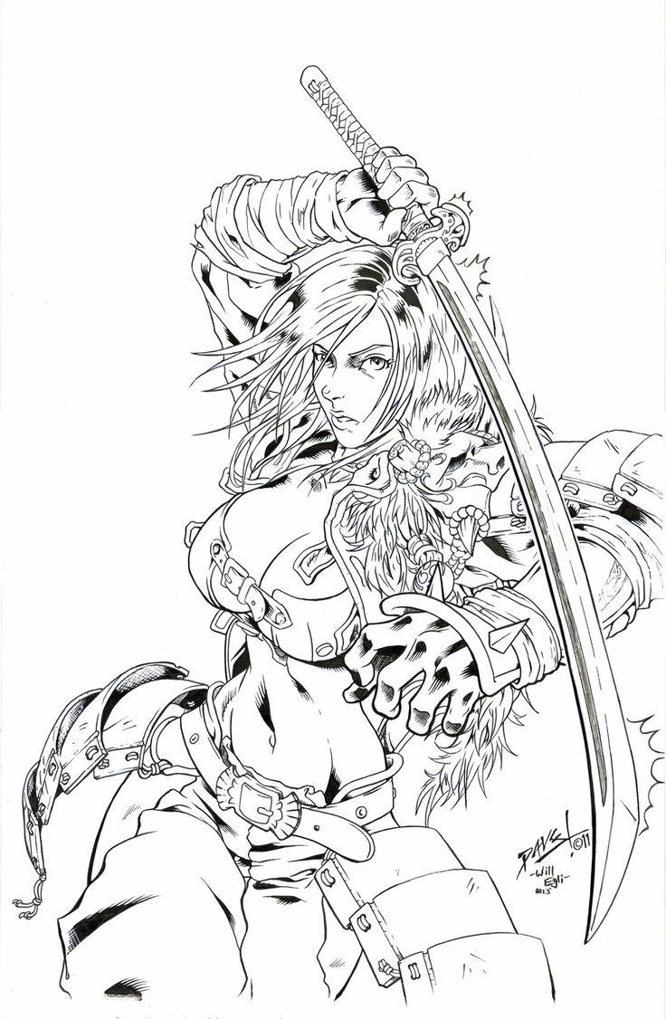 samurai x coloring pages - kurenai samurai chick inks gunawan egli by surftiki on