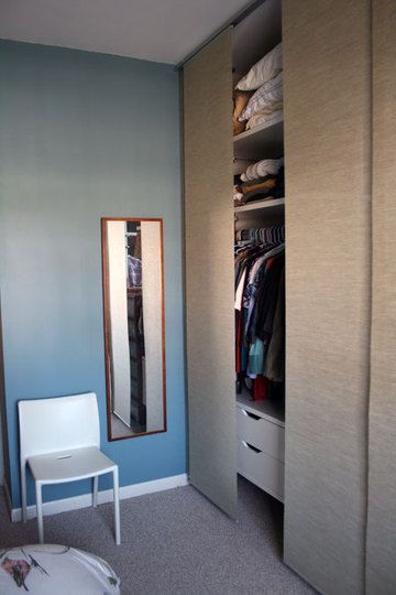 Ikea flat panel curtains instead of closet doors.